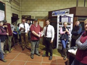 ROW 2017 - Daniel presents Colin Price with first prize pen of 10 and pen of 5 ewe lambs.JPG