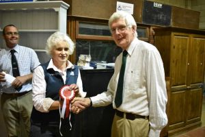 ROW 2018 - Helen Sevenoaks collects 1st for Best Pen of 10 Shearling Ewes.JPG