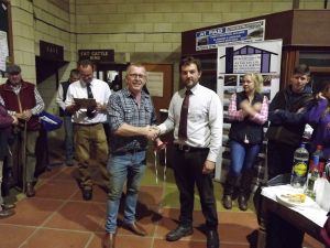 ROW 2017 - Daniel presents Alun Bennett with 1st prize pen of 5 shlg ewes.JPG