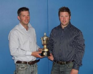 2013 - RHS - Ian & Tom Walling with the Edinburgh Corporation Gold Challenge Cup. A circultaing cup offered to the Lleyn section this year.JPG