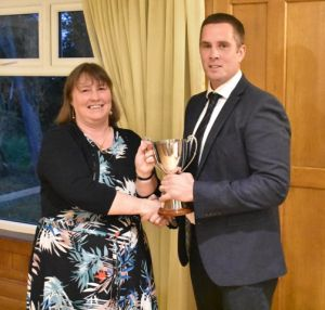AGM 2018 - Bethan Vaughan presents Dyland Jones with the Lluest Wen Cup.JPG