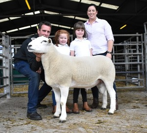 Ruthin 2018 - Dylan, Anwen, Megan & Manon Jones with top priced Lluest Ram - 8400gns.JPG