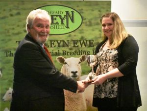 AGM 2019 - Meurig Williams presents the Barnard Cup to Gwenllian Roberts on behalf of E & D Jones.JPG