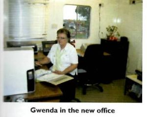 2008 - Gwenda in the new office.JPG